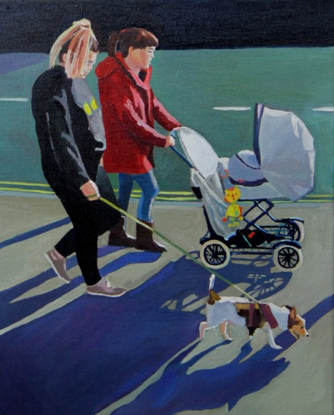 Painting of two girls with pram and Jack Russell dog by Emma Cownie