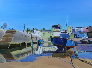 Painting of Tenby Harbour at Low Tide