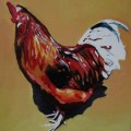painting of a red rooster