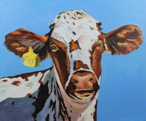Painting of a brown and white cow