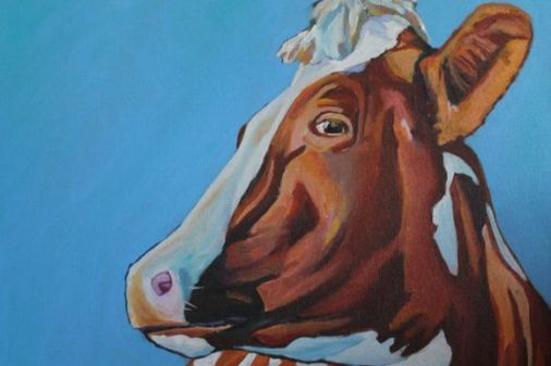Colourful Painting of cow