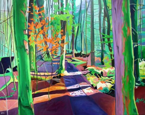Oil painting of Gower woodlands by artist Emma Cownie