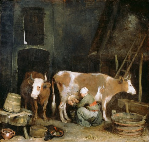 Gerard_ter_Borch_(Dutch_-_A_Maid_Milking_a_Cow_in_a_Barn_-_Google_Art_Project