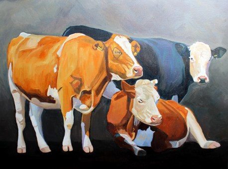 Family Portrait an oil painting of three cows by artist Emma Cownie