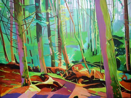 Colourful Gower woodland painting by Emma Cownie