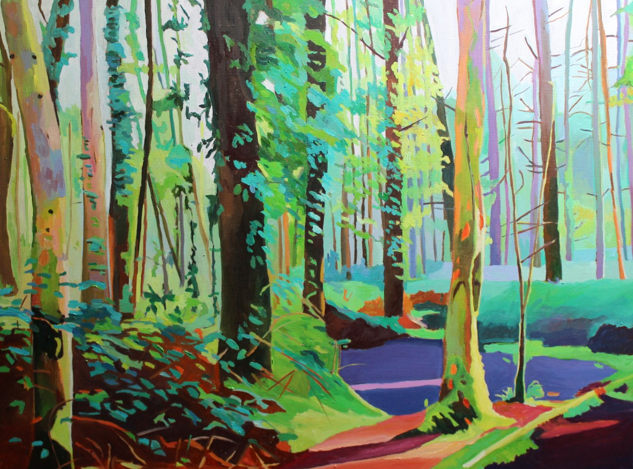 Oil painting of Gower woods by Emma Cownie