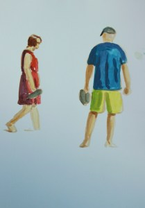 painting of two people on the beach
