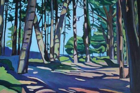 Painting of the Wood at Whitford Sands by Emma Cownie
