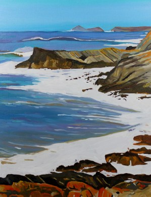 Oil painting of the coast towards Worms Head, Gower