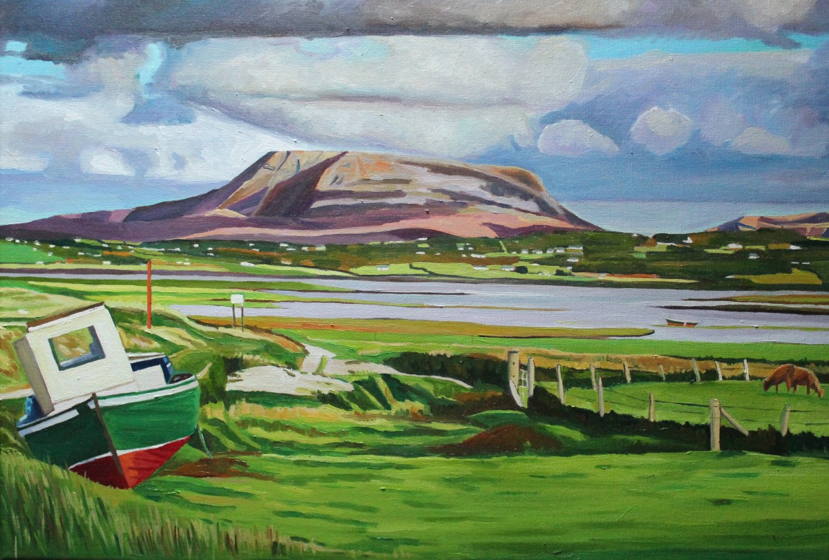 Painting of boat at Muckish, Donegal.