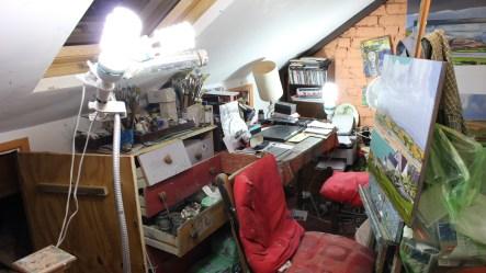 Artificial light in an artists studio