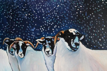 Christmas card sheep in snow