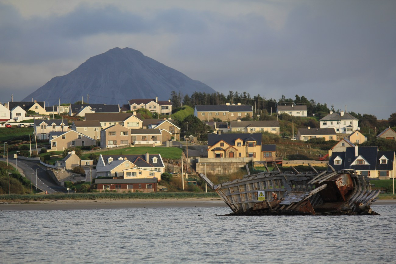 Photo of Bunbeg with Errigal in the distance