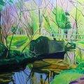 Painting of Bridge in woods
