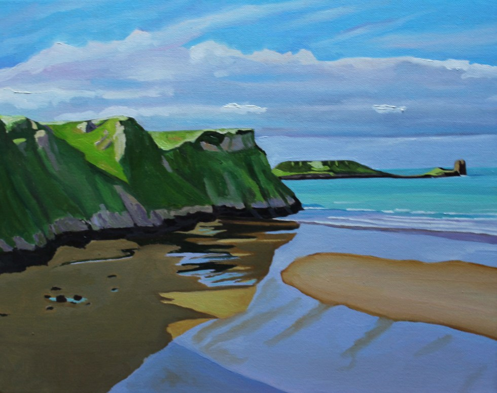Painting of Rhossili and worms Head for Sale