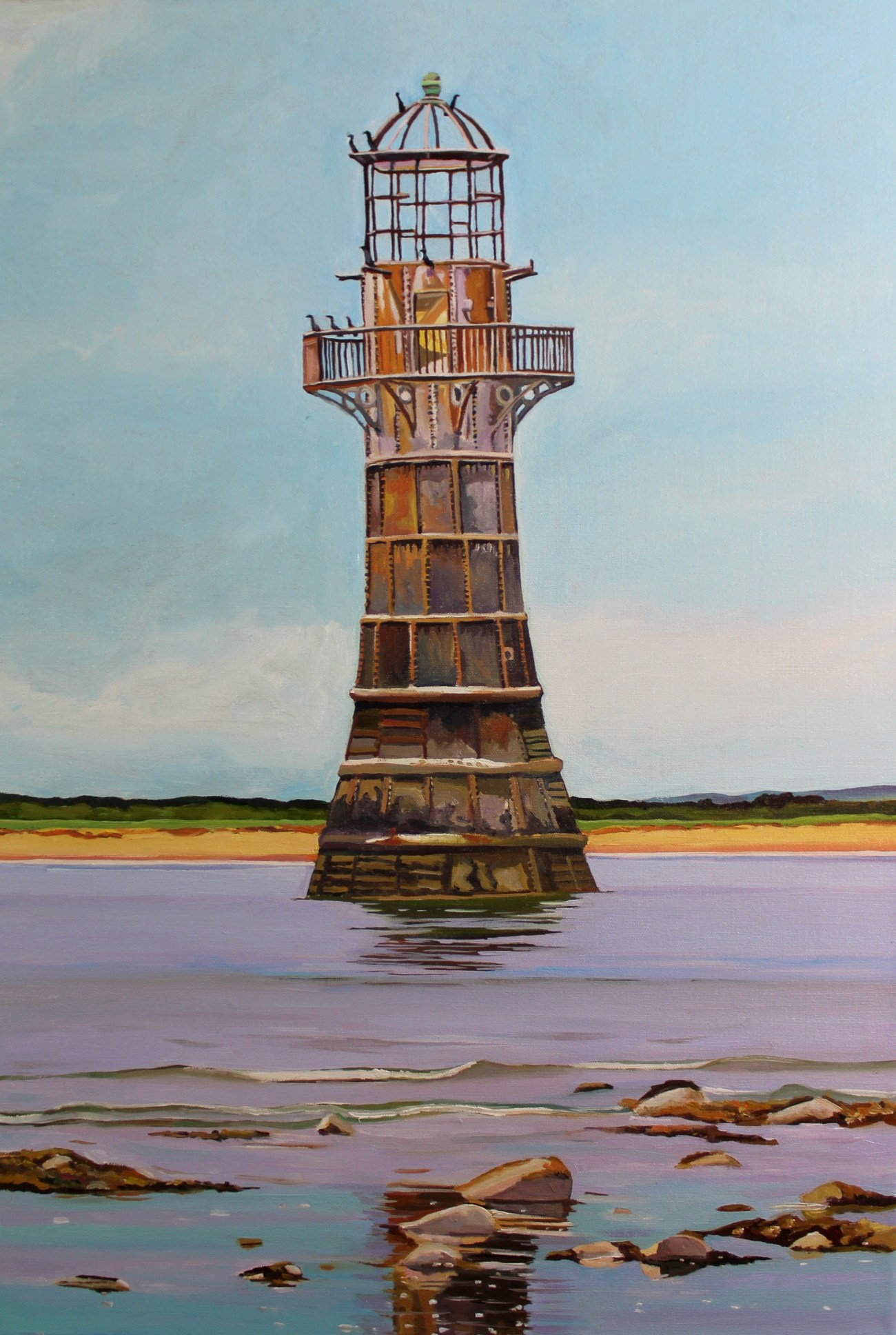 Painting of Lighthouse at Whiteford Point, Gower
