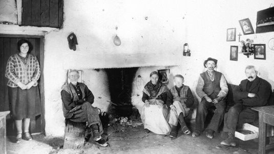 Interior of cottage with family. Aran Islands, Co. Galway, c. 1900