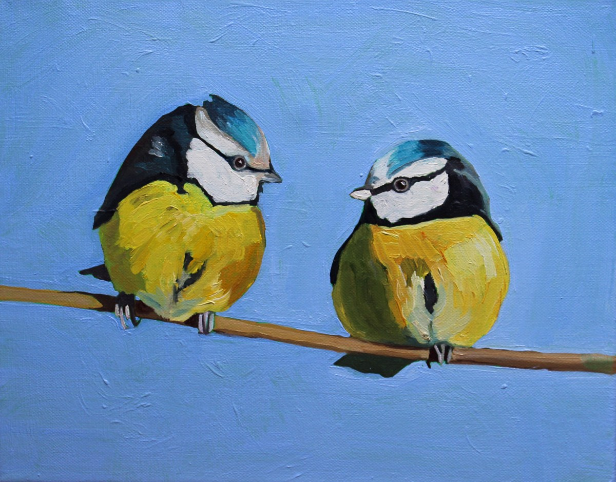 Painting of Two Bluetits