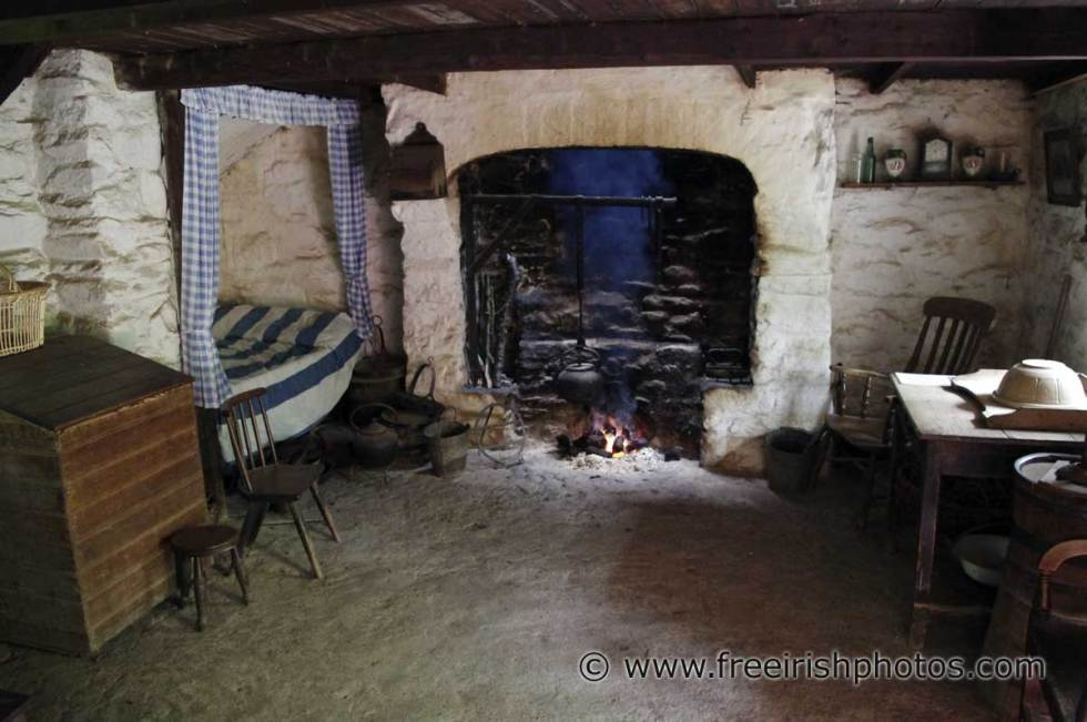 Note the bed by the fire