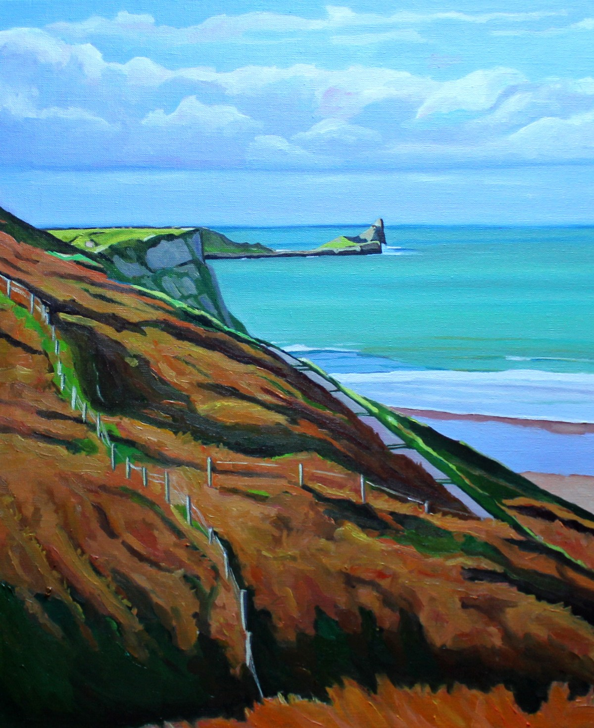 Painting of worms Head Rhossili Bay