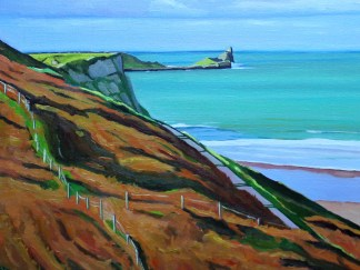 Painting of worms Head Rhossili Bay_EmmaCownie