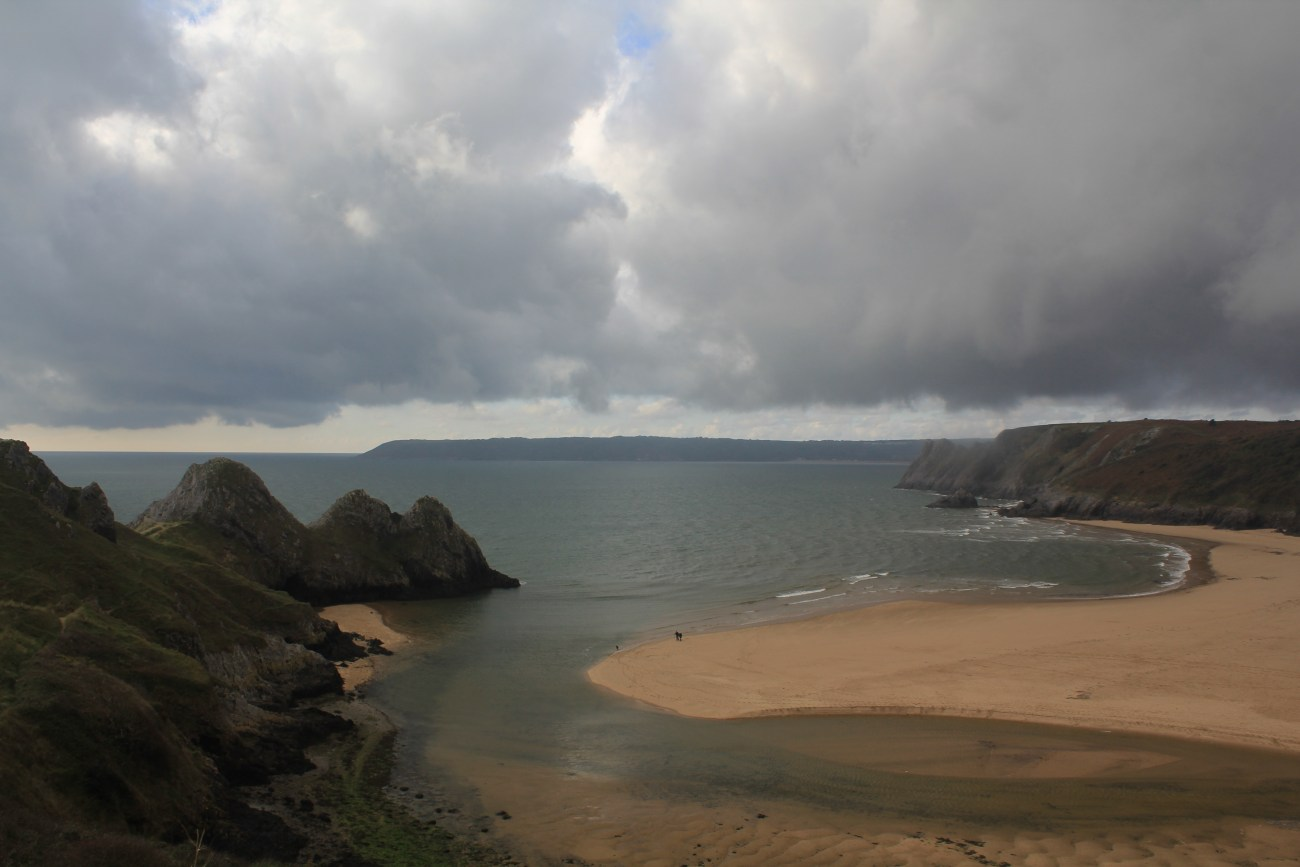 Cloudy Three Cliffs Bay
