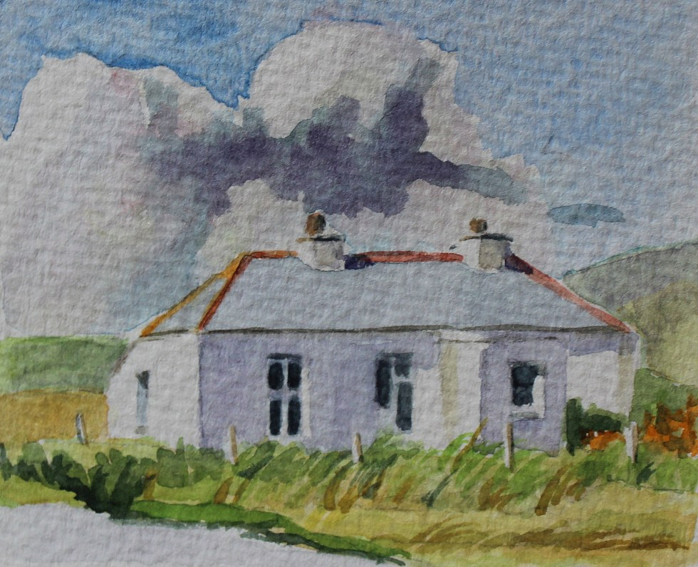 Watercolour of Irish cottage, Donegal