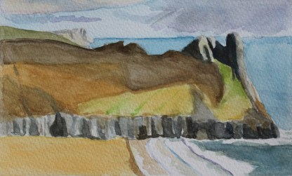 Watercolour of Great Tor, Gower Peninsula