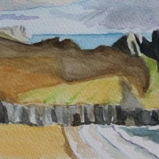 Watercolour of Great Tor, Gower Peninsula