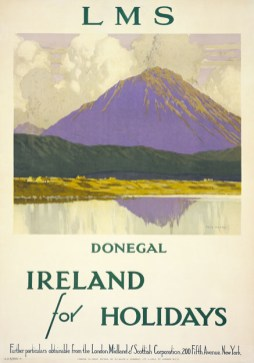 This travel poster was produced for the London Midland and Scottish Railway Company c1920s. It shows Mount Errigal in Donegal which is the tallest peak in the Derryveagh Mountains and has been voted as 'Ireland's Most Iconic Mountain' in the past. Some small country cottages at the foot of the mountain by the lough side can be seen in the foreground. Artwork is by Paul Henry (1876-1958), who was famous for his paintings of clouds and rugged Irish landscapes. During the 1920s several of Paul Henry's works were reproduced as posters or print. These helped to establish the standard scenic view of Ireland in tourist literature and in government publications and this poster is a prime example of his outstanding, unique talent.