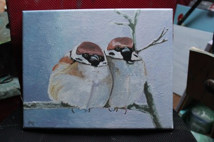 Painting of two tree sparrows