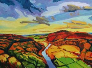 Painting of Symonds Yat, Autumn_ Emma Cownie