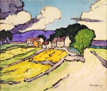 Grace Henry HRHA (1868-1953) Cottages, Western Landscape