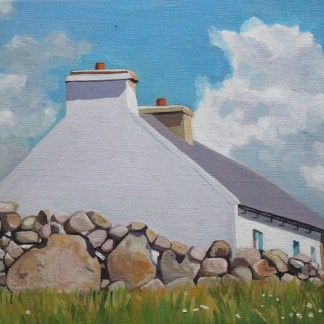 Oil painting of an Irish Cottage and dry stone wallon Gola, Donegal
