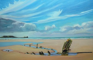 Oil painting of Rhossili Bay with the wreck of the Helvetia