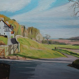 Painting of cottage near Oxwich marshes by Emma Cownie