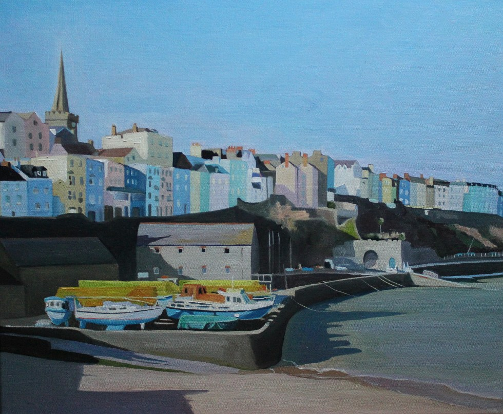 Oil Painting of Tenby in the Winter Light, Wales_Emma Cownie