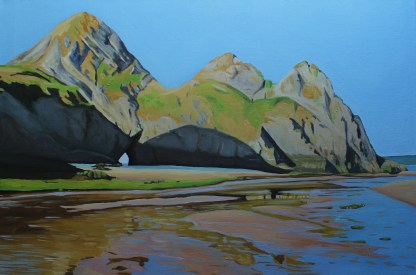 Painting of Early Morning Shadows at Low Tide, Three Cliffs (Gower)