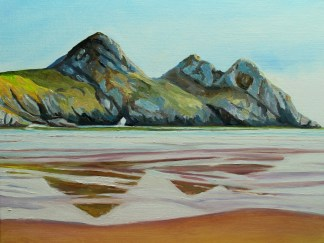 Painting of Three Cliffs, Gower