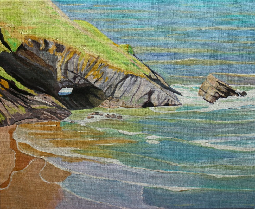 Painting of Three Chimneys Arch, Gower
