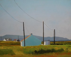 Landscape painting of houses at Lines, Marameelan