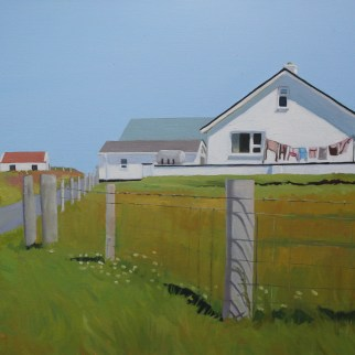 Painting of house and washing, Donegal