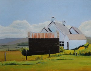 Painting of houses at Marameelan, Donegal