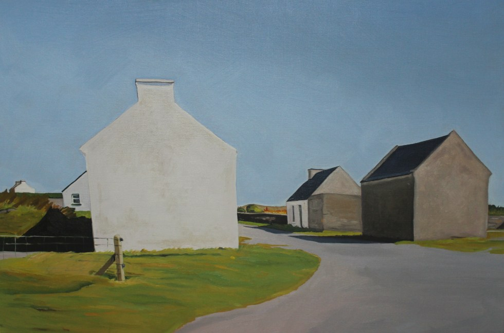 Painting of houses at Clogan, Inishbofin