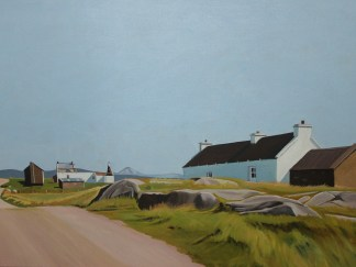 Oil painting of houses on Gola by Emma Cownie