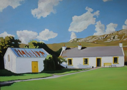 Painting of an old house with outhouse with yellow door at Knockfola, Donegal