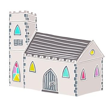 Little Church - hand-drawn and digitally coloured