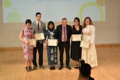 The 2016 Student Award winners. From left: Sharon (Arts), Egor (Sport), Fatmata (Personal Development), Arnett (Principal), Malena (International Understanding), me (Community Service).