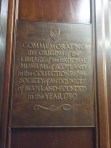 Plaque commerating the origins of the library of the Society
