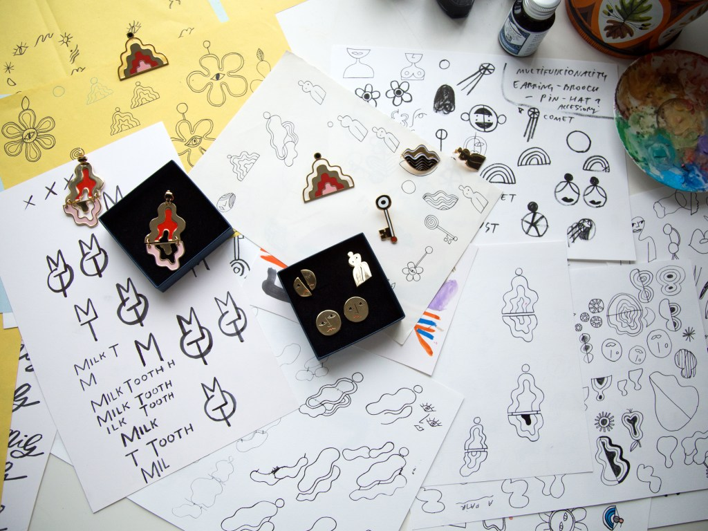 EJP-Milk-tooth-ldn-mariaMaria-Ines-Gul-earrings-illustrations